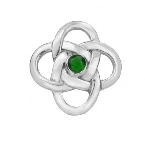 Celtic Knot Silver Brooch with Emerald colour stone 0413
